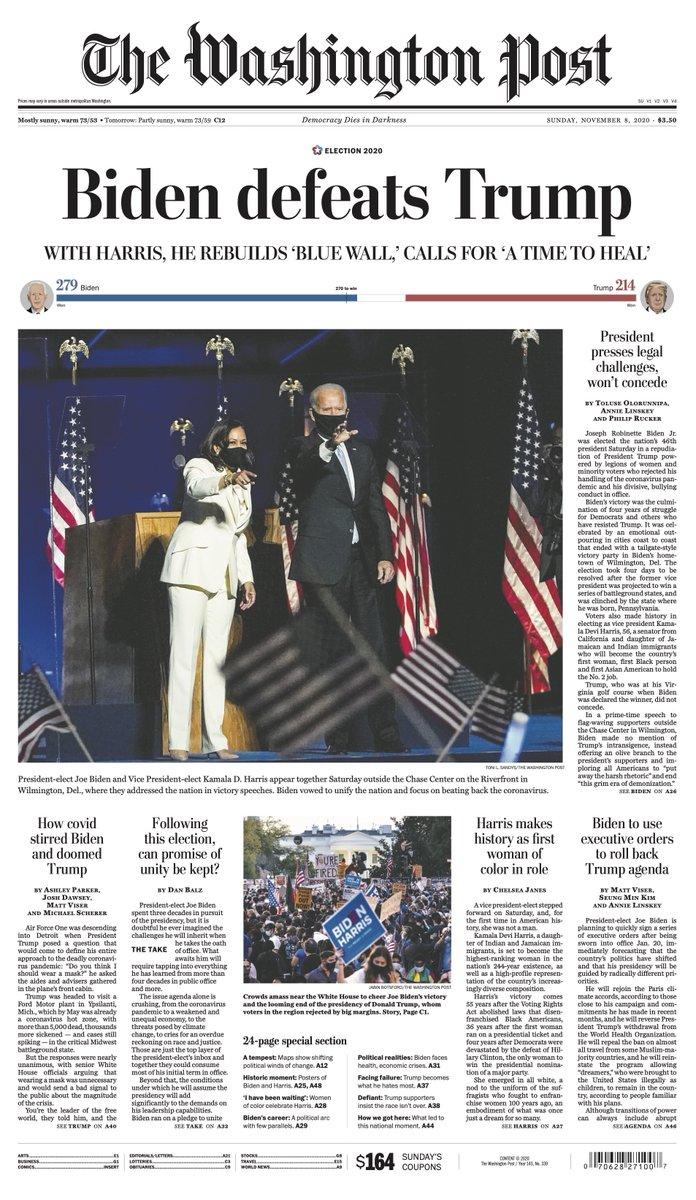 "Replying to @washingtonpost: The front page of Sunday's Washington Post: ""Biden defeats Trump"""