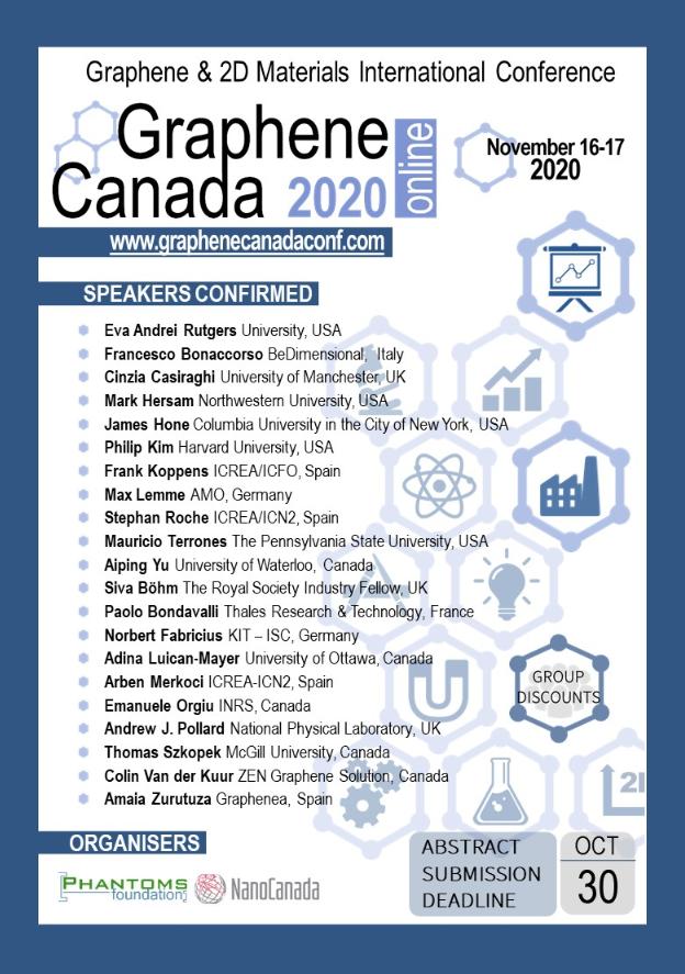 test Twitter Media - Graphene Canada 2020 conference is coming!  Held online on November 16-17. See the announcement.  #graphene  @nanocanada  @CIC_ChemInst https://t.co/bjcEuL7Fyb