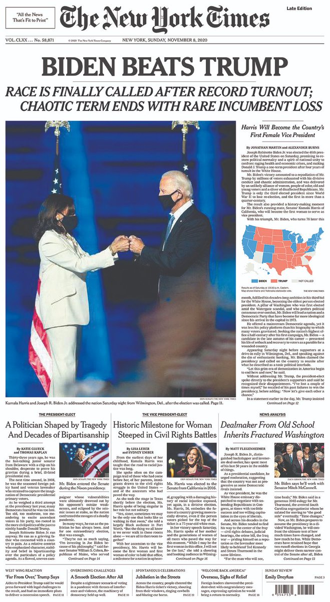 The front page of The New York Times for Nov. 8, 2020 (late edition).
