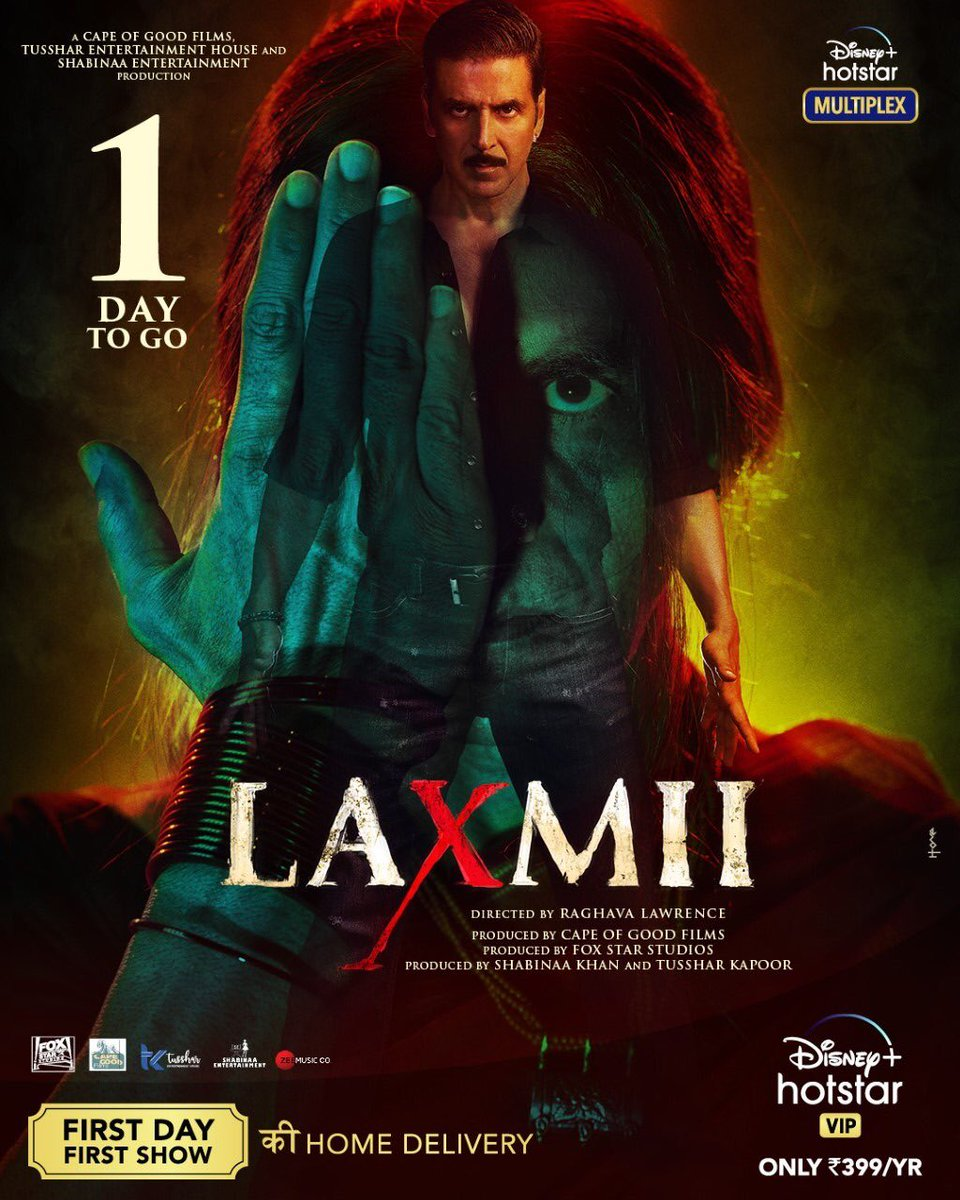 Releasing tomorrow. #Laxmii @akshaykumar @advani_kiara @DisneyPlusHS @Shabinaa_Ent @TusshKapoor