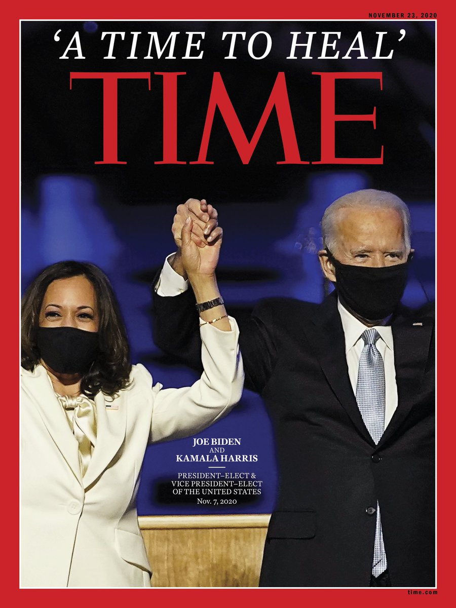 """Our new cover: """"A time to heal."""" President-elect Joe Biden and Vice President-elect Kamala Harris."""