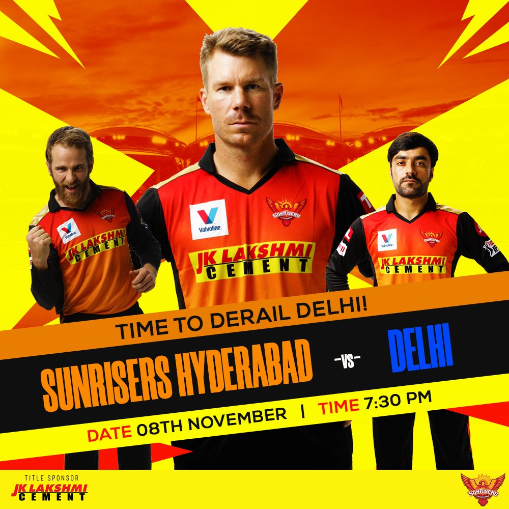 Come on @SunRisers , carry on your amazing winning streak today against the Capitals!  #RisersWithBulandSoch #SRH #SunRisersHyderabad #OrangeArmy #KeepRising