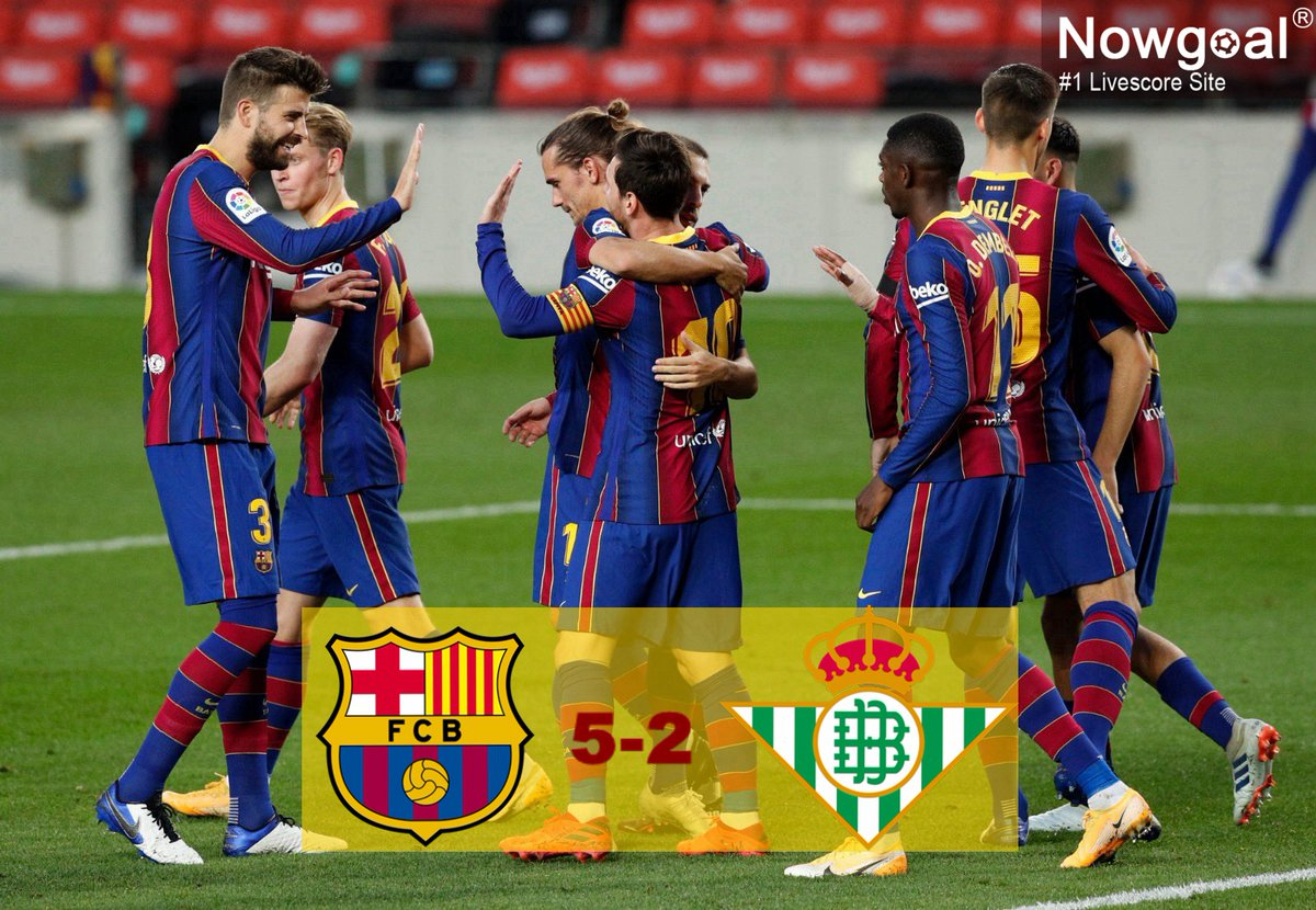 """Nowgoal Livescore on Twitter: """"#LaLiga: #Barcelona 5-2 #RealBetis! 1⃣  #Messi scored two goals off the bench! He still wanted to help his  teammates first and passed the ball as long as he"""