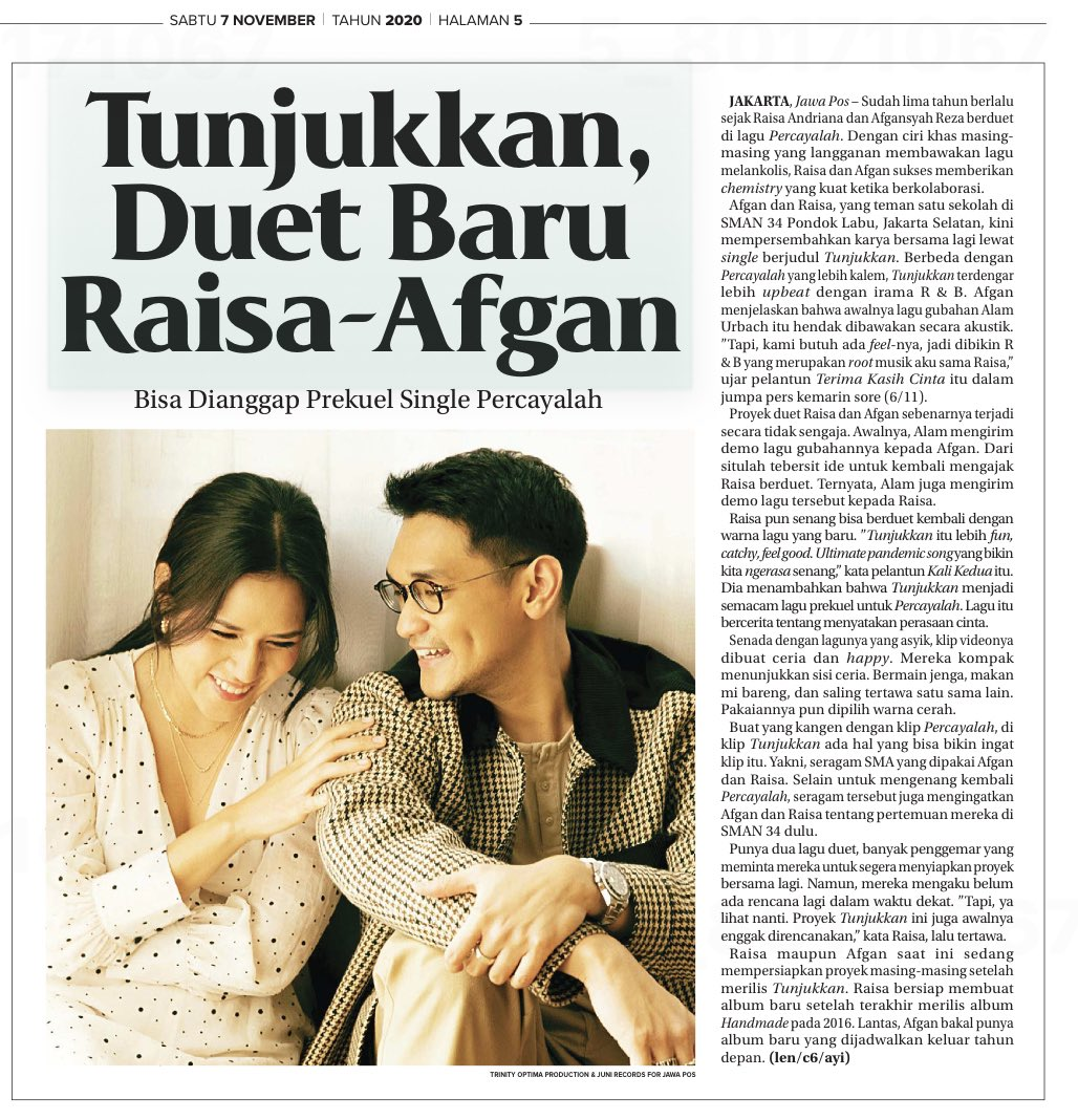 Tunjukkan Duet 🎼👩‍❤️‍👨 Baru @raisa6690 - @afgansyah_reza   @TrinityOptimaP #AfganRaisaTunjukkan #IndonCTrack   Source: Java Pos, #Indonesia 🇮🇩07/11/20 (Test Post) (Subscription Copy) ©