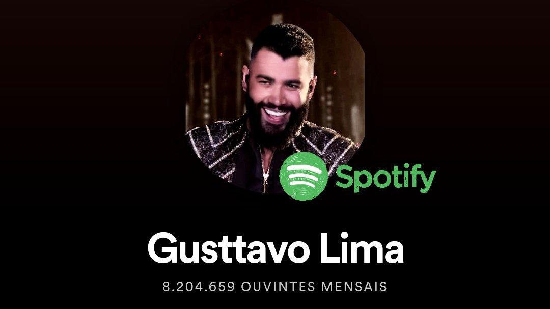 Gusttavo Lima conquista 8,2 milhões de ouvintes mensais no Spotify. E segue como cantor brasileiro mais ouvido no país.