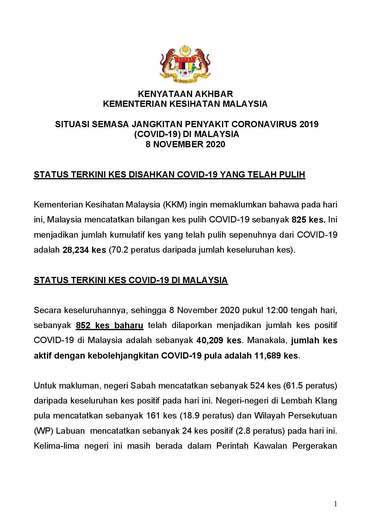 Kkmalaysia On Twitter Kenyataan Akhbar Situasi Semasa Jangkitan Covid 19 Di Malaysia 8 Nov 825 Kes Sembuh 852 Kes Baharu 2 Kluster Baharu 2 Kes Kematian Kkm Https T Co Gel26pkaju