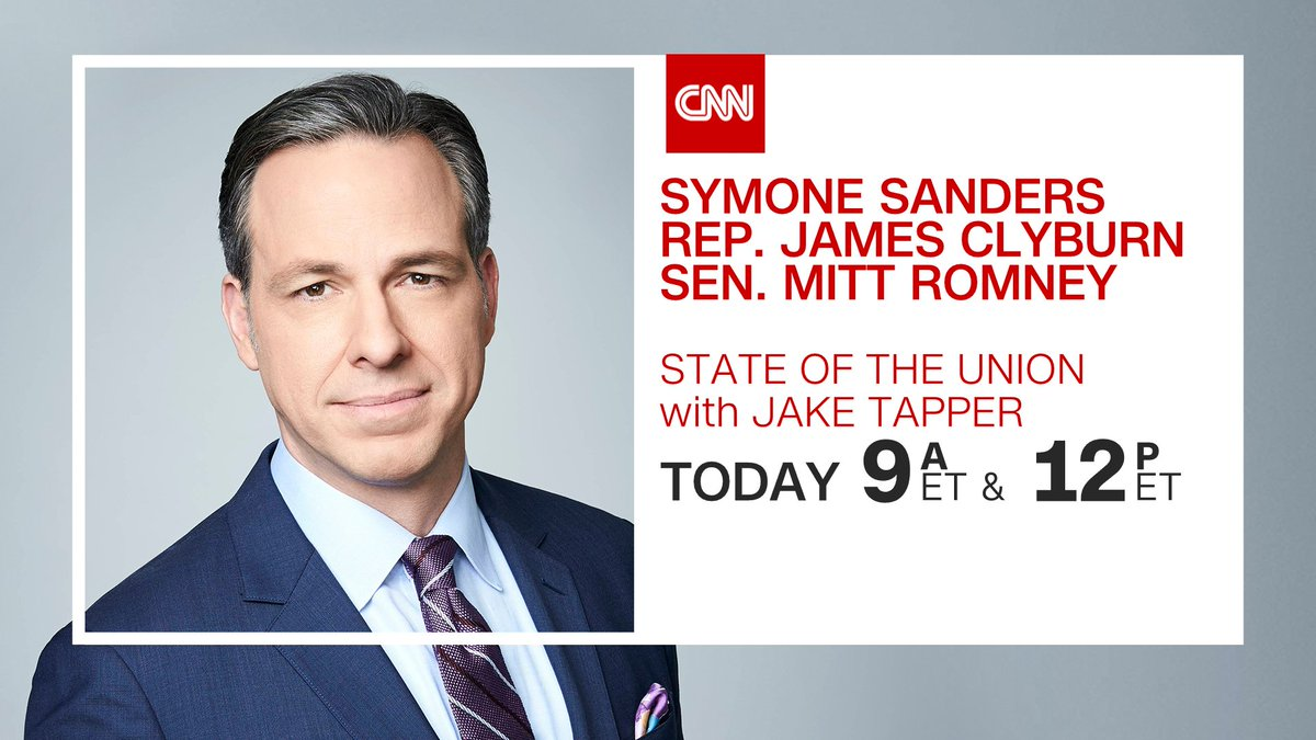 Good Morning! Today on #CNNSOTU w/ @jaketapper:   ➡️ @SymoneDSanders  ➡️ @SenatorRomney  ➡️ @WhipClyburn  ➡️ @staceyabrams  ➡️ @GovLarryHogan   ➡️ @AOC   Tune in on 📺 @CNN, 🌎🌍🌏 @cnni, 🎧📻 @tunein, @SIRIUSXM Ch. 116 & 🖥️💻📲 !