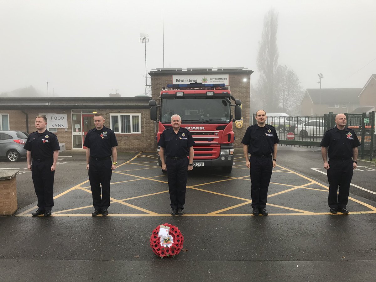 Green Watch paying our respects this morning. #LestWeForget #WeWillRememberThem