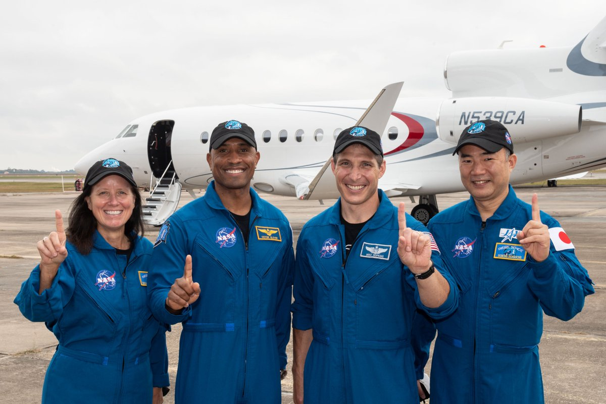 "Today, the crew of NASA's SpaceX Crew-1 mission departed Ellington Field in Houston, pictured here, and safely arrived at @NASAKennedy in Florida. Next stop: the @Space_Station!  As NASA astronaut Victor Glover said upon landing, ""Go Falcon, go Dragon, and go Resilience!"" https://t.co/daBKBR9iVg"