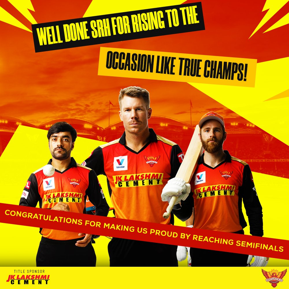 This is not the end but the promise to rise even higher, in the next season. Congratulations to every player of @SunRisers for the buland performance this season. JK Lakshmi Cement is proud of you, as are your fans!  #RisersWithBulandSoch #SRH #OrangeArmy #KeepRising