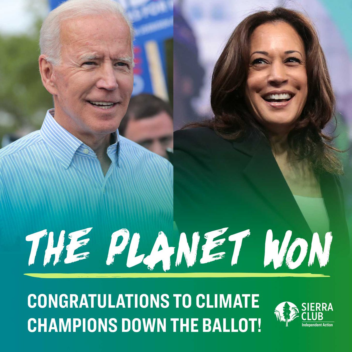 The planet won! Congratulations to Joe Biden and Kamala Harris. We are excited to continue the work to safeguard the health, safety and sustainability of our planet.  #changepoweredbypeople #peopleplanetpower