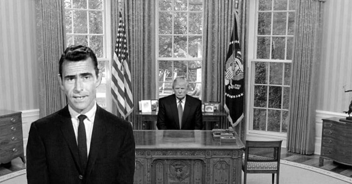 @realDonaldTrump You see a man, sitting in the most powerful chair in the world for the last time.  All his lies, deception and divisive rhetoric have failed.  His embracement of Fascism, racism & white supremacy unmasked. Alone in his misery he begins his new nightmare in the Twilight Zone.