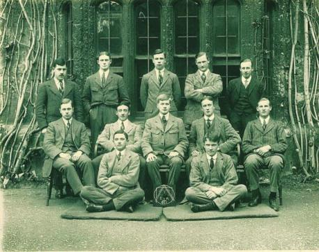 """JRR Tolkien (middle row, 2nd from right) with members of a club at Exeter College, Oxford, before the Great War, in which all but one served. Half of them died in action.  """"They shall not grow old, as we that are left shall grow old...""""  https://t.co/Z69j6nTCax https://t.co/9BQDKRj3xG"""