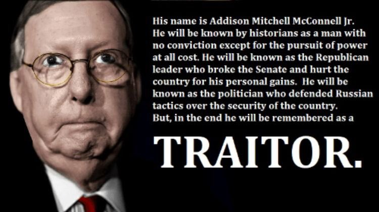 """🆘 Stomp Out Stupid 🚨 No Pardons for Traitors 🚨 on Twitter: """"Moscow Mitch  McCONnell still working for Putin to destroy America & line his own  pockets. He'll never place US over"""