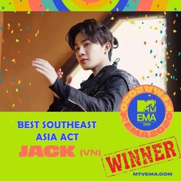Chúc mừng Jack chiến thắng Nghệ sĩ Đông Nam Á xuất sắc nhất MTV EMA 2020! Congrats Jack to win Best Southeast Asia Act @mtvema 2020! #Jack #J97 #MTVEMA #BestSeaAward