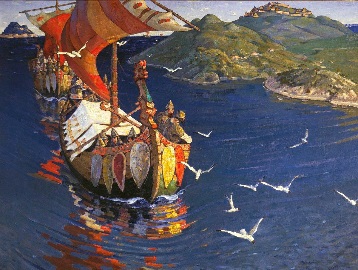 """Guests from Overseas, 1901 (Varangians in Rus)"" Nicholas Roerich (October 9, 1874 – December 13, 1947) (Russian: Никола́й Константи́нович Ре́рих) was a Russian painter, writer, archaeologist, theosophist, philosopher."