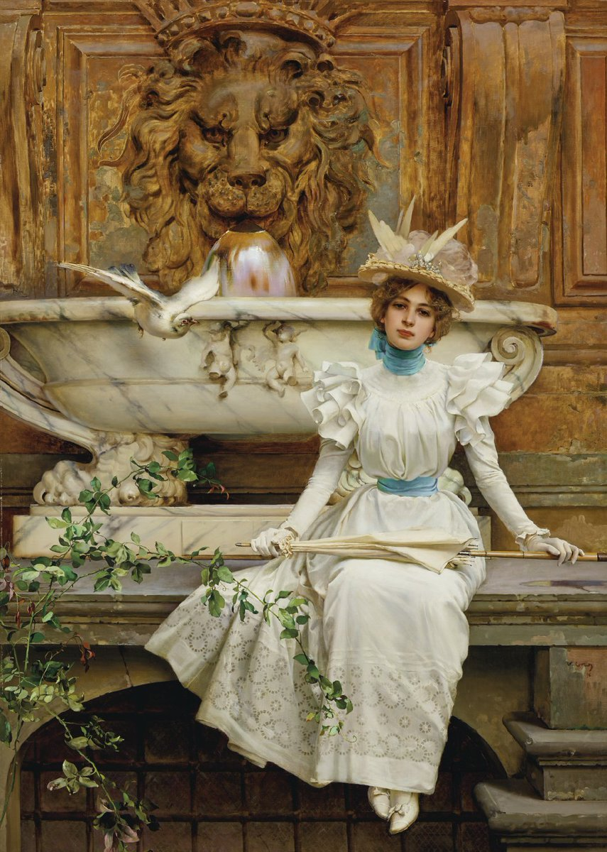 Stay by the fountain Vittorio Matteo Corcos (4 October 1859 – 8 November 1933) was an Italian painter, known for his portraits. Many of his genre works depict winsome and finely dressed young men and women, in moments of repose and recreation.