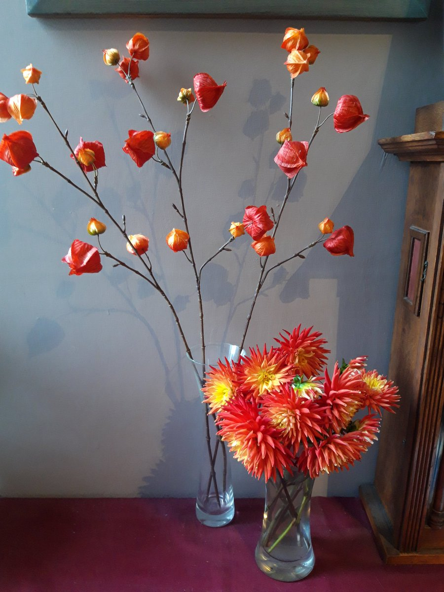 Spent time in OUR garden yesterday (Hubster Tom is usually in other folks gardens). Rescued these final orange dahlia stems, before putting the corms to bed for the winter. 📷 Orange display of dahlias, with 3 tall stems of silk Chinese Lanterns.
