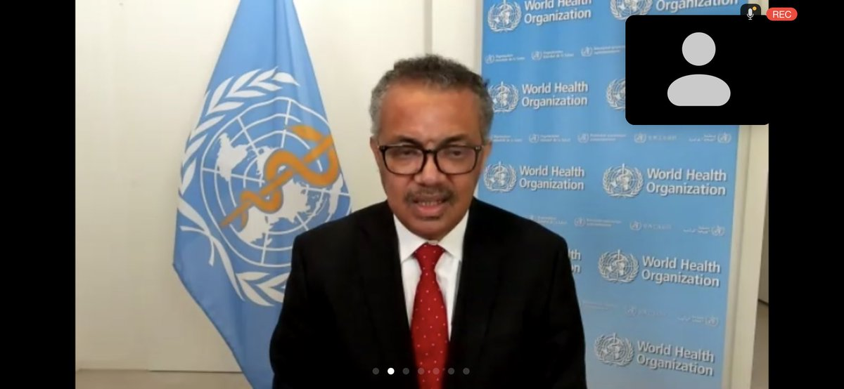 """""""We might be tired of #COVID19, but its not tired of us"""" says @DrTedros at #WHA73"""