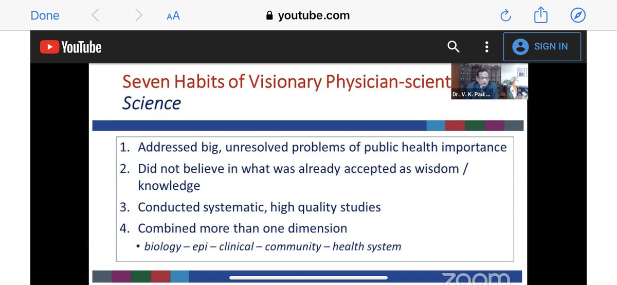 Seven habits of visionary physician scientists — from Dr Vinod Paul @NITIAayog in honour of Dr MK Bhan.