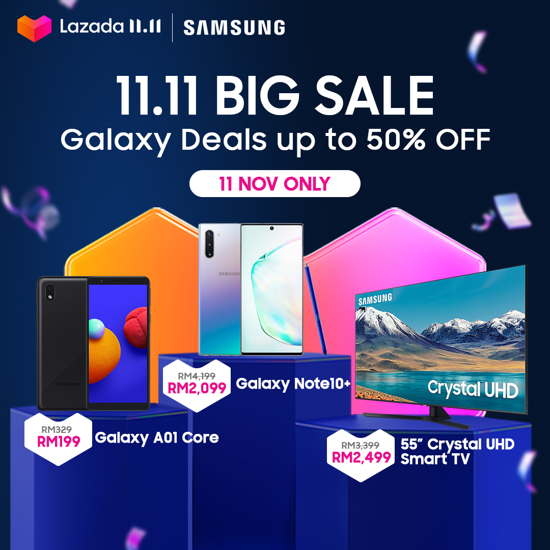 Samsung Galaxy deals up to 50% off only on #LazadaBiggestOneDaySale!  Add to cart here: https://t.co/Babe1fiKzh _________________________ This 11 Nov, shop with Money Back Lowest Price Guaranteed* 💯and RM11 Free Shipping🚛!  👉 ADD TO CART TODAY: https://t.co/swVRoykmgf https://t.co/fwDSoLaeSK