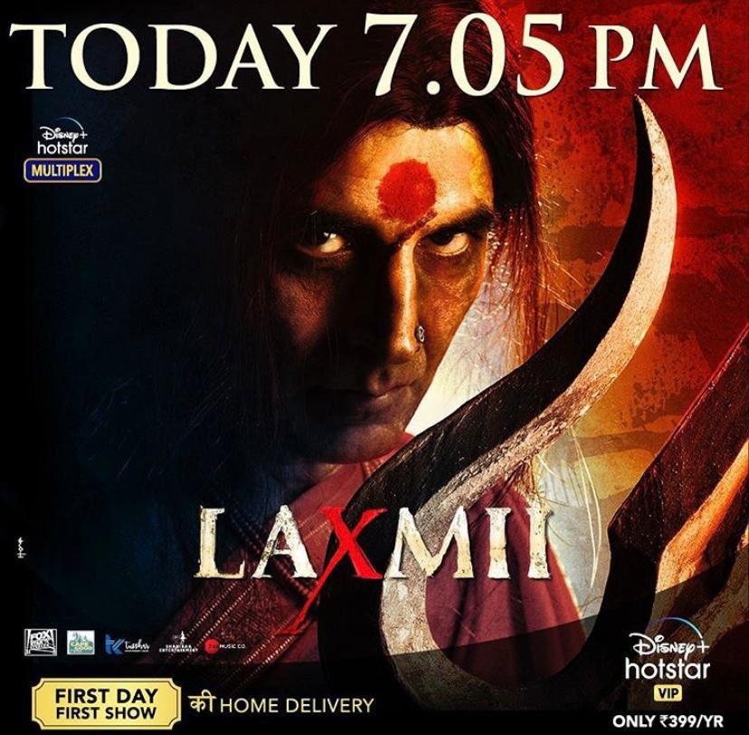#Laxmii streaming from today 7:05 PM. @DisneyplusHSVIP! #LaxmiiStreamingToday #FoxStarStudios #YehDiwaliLaxmiiWali @akshaykumar @advani_kiara @offl_Lawrence @Shabinaa_Ent @TusshKapoor @ZeeMusicCompany #SuperCinema