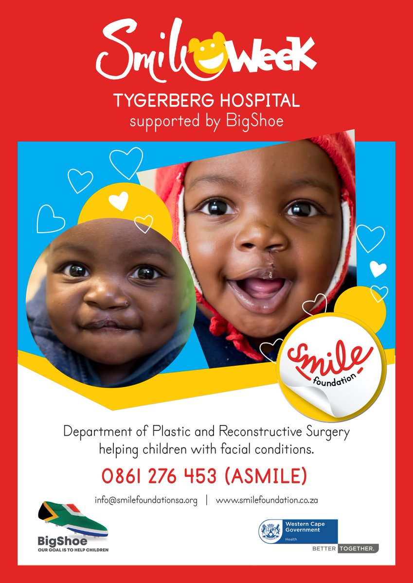 Today kickstarts @TygerbergHospital Smile Week backed by @BigShoe_11 . A minimum of 18 children will receive transforming surgery to restore their confidence and smiles. #BigShoeCup #SmileFoundationSA #AidTheBacklog #SmileWeek