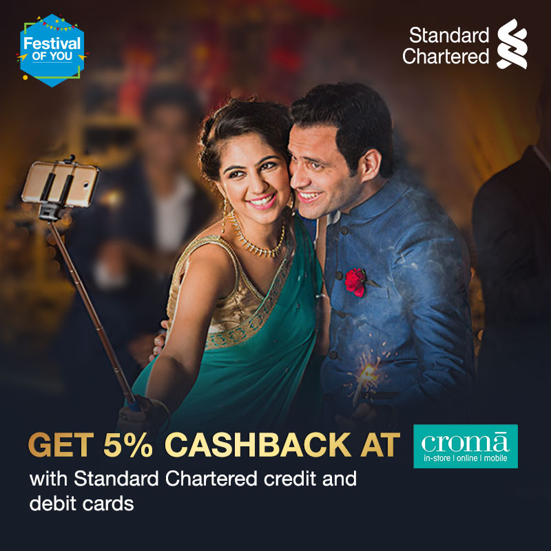 This festive season, electronic shopping has no bounds. Get 5% instant discount at Croma with Standard Chartered credit and debit cards, on Tuesday and Wednesday. Offer valid from 6 - 11 Nov 2020.  To know more,   #FestivalOfYou #StandardChartered