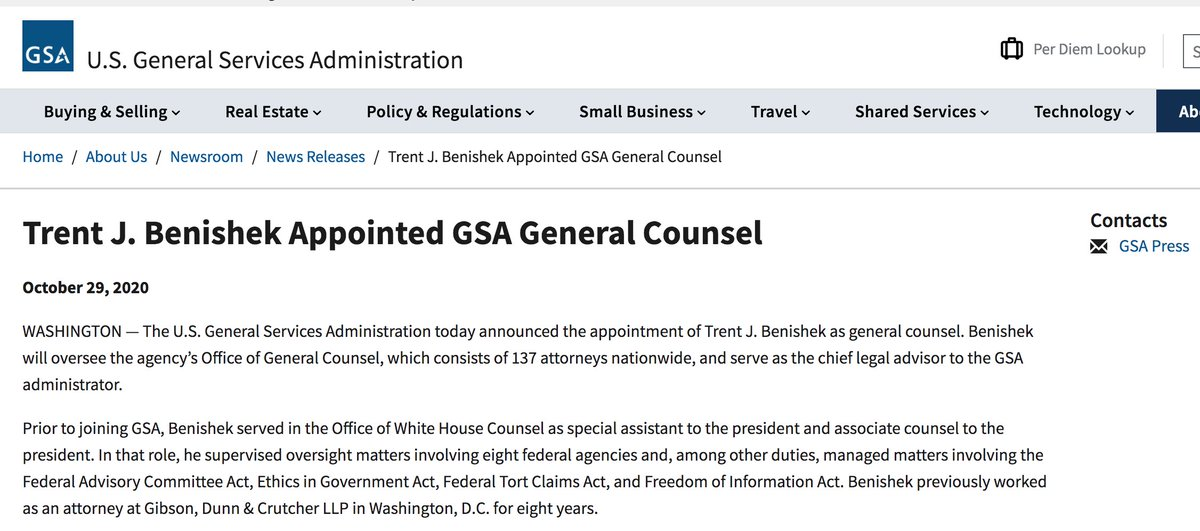 Nancy Levine On Twitter Holy Sh T On October 29th Trump Dispatched A Whitehouse Attorney To The Gsa Trent Benishek And Now Gsa Head Emily Murphy Is Refusing To To Sign A Letter