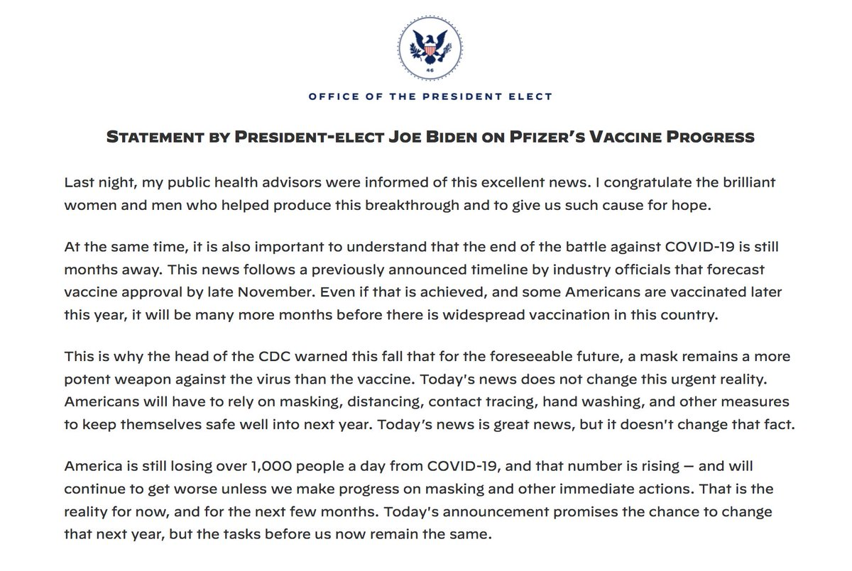 Statement by President-elect Biden on Pfizer's vaccine progress: