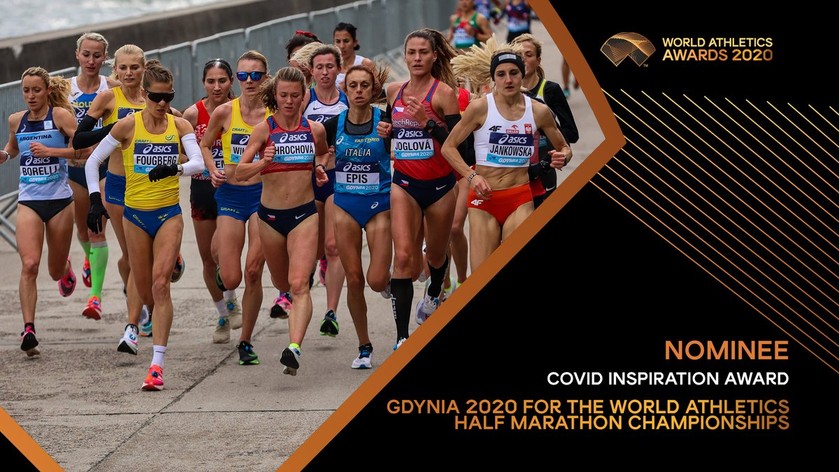 #WorldAthleticsAwards announcement💫  New for 2020 is the COVID Inspiration Award. A celebration of those who overcame disruption from the pandemic to deliver an inspiring athletics event.  Gdynia 2020 for the #WorldHalfMarathon has been nominated.  RETWEET THIS POST TO VOTE.