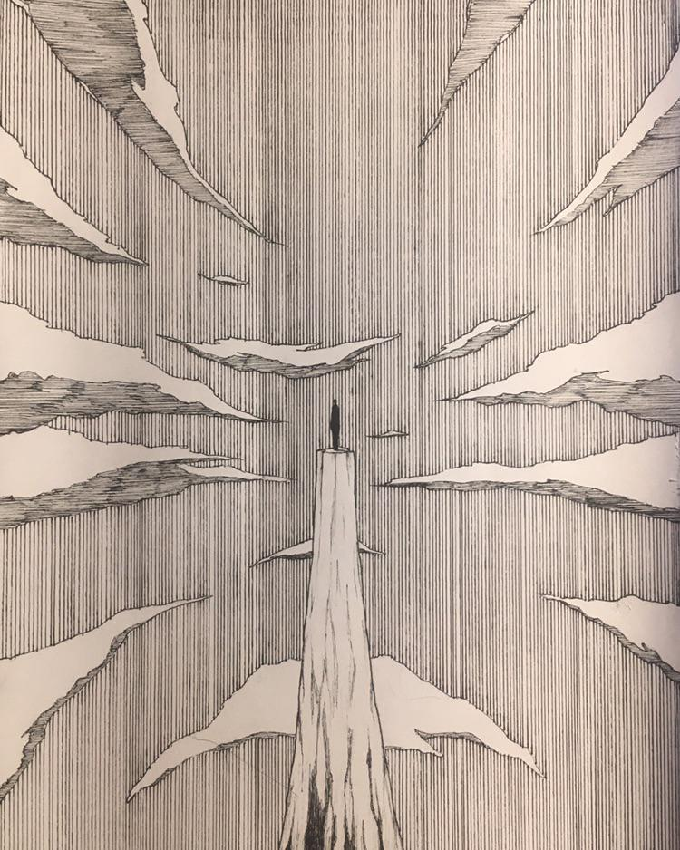 Alone, GiackyilFusto, ink and paper, 2020
