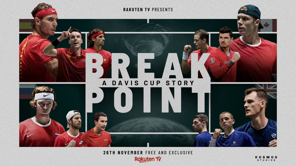 """""""Break Point: a Davis Cup Story"""" will launch on Nov. 26 free and exclusively on @RakutenTV   A Kosmos Studios production that features the amazing heroes testimonies of the tournament such as Rafa Nadal and Roberto Bautista among others.   More info➡️"""