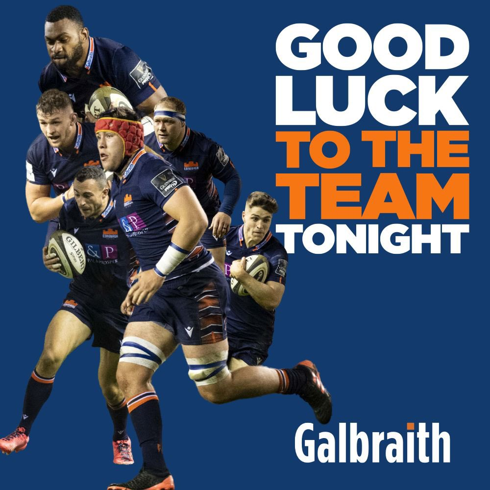 🔸Best of luck to @EdinburghRugby in action this evening!🔹 #Galbraith| #OfficialPropertyPartners