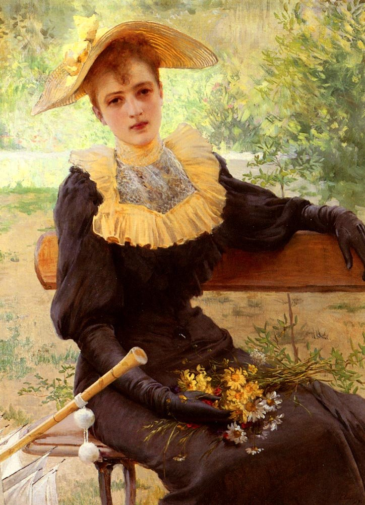 In The Garden Vittorio Matteo Corcos (4 October 1859 – 8 November 1933) was an Italian painter, known for his portraits. Many of his genre works depict winsome and finely dressed young men and women, in moments of repose and recreation.