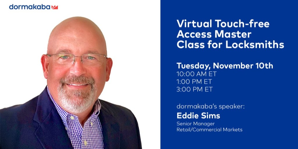 #Locksmiths, fine tune your touch-free skills and knowledge by joining us tomorrow for our complimentary Touch-free Master Class.   Register now: https://t.co/XhFD4pEgjZ  #TouchFreeSolutions #dormakabamasterclass #VirtualTraining https://t.co/Kcq9JMQD9j
