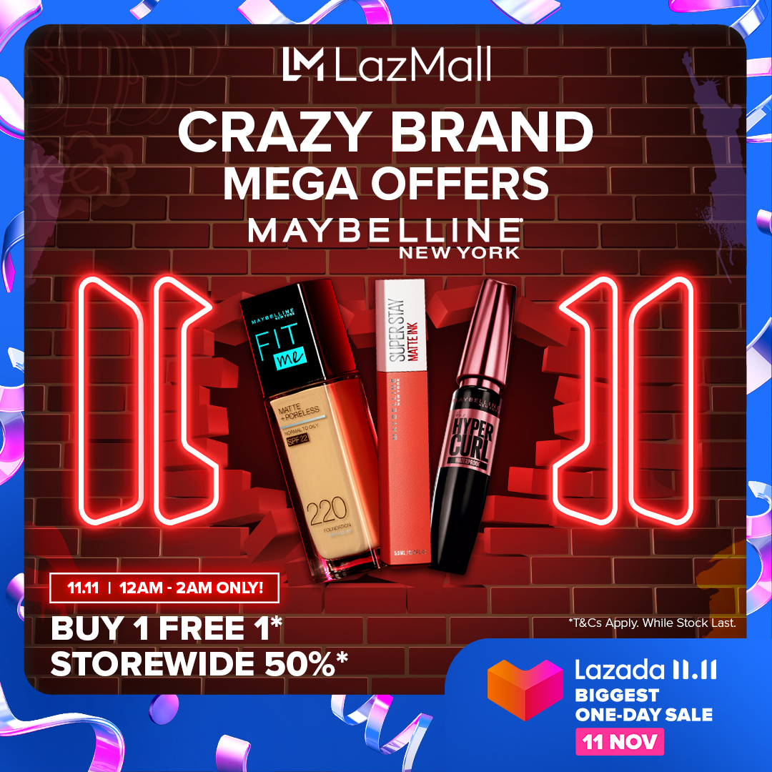 Step up your makeup game with Maybelline's Crazy Brand Mega Offer BUY 1 FREE 1 + RM38 voucher, only from 12am-2am, 11 Nov, #LazadaBiggestOneDaySale!  💄Add to cart here: https://t.co/o0fjKiXGTg https://t.co/GBP3Zldd4x
