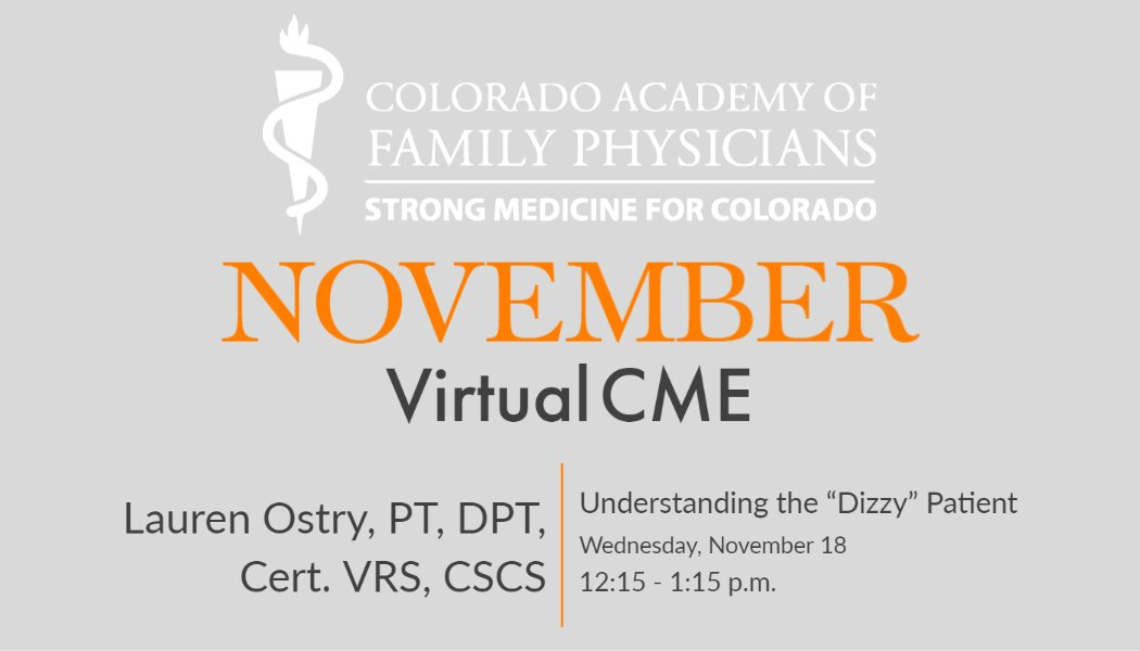 "test Twitter Media - On Wednesday, November 18, from 12:15 – 1:15 p.m., Lauren Ostry, PT, DPT, Cert. VRS, CSCS, will offer a Virtual CME session on Understanding the ""Dizzy"" Patient. Registration details are here: https://t.co/w4aD06qTvM https://t.co/rxV362jTe5"