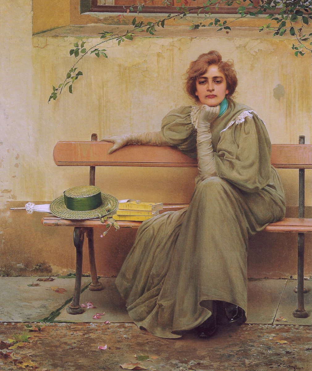 """""""Sogni, 1896, Galleria Nazionale dArte Moderna, Rome"""" Vittorio Matteo Corcos (4 October 1859 – 8 November 1933) was an Italian painter, known for his portraits. Many of his genre works depict winsome and finely dressed young men and women, in moments of repose and recreation."""