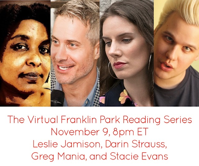 So excited to celebrate (& when did I last type *those* words) at the beloved Franklin Park Reading series tonight. So thrilled to read with @Darinstrauss @gregmania and @FatBlackDiva  Join us!