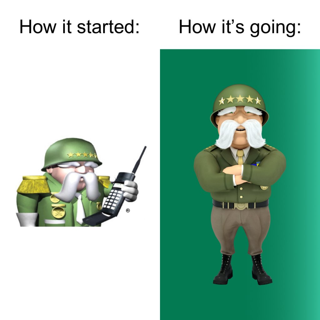 How it started vs. How it's going.  #RideWithTheGeneral #HowItStarted