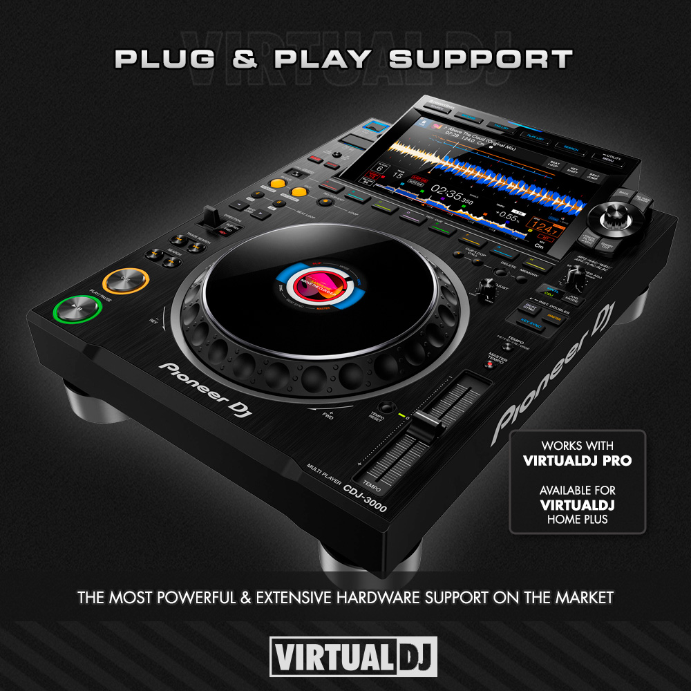 Plug & play support for @PioneerDJglobal CDJ-3000. Enhance the performance with real-time stems for instant acapella on any song, video mixing, intuitive library management, extend plugins and effects and much more. Get the most out of your controller with @VirtualDJ