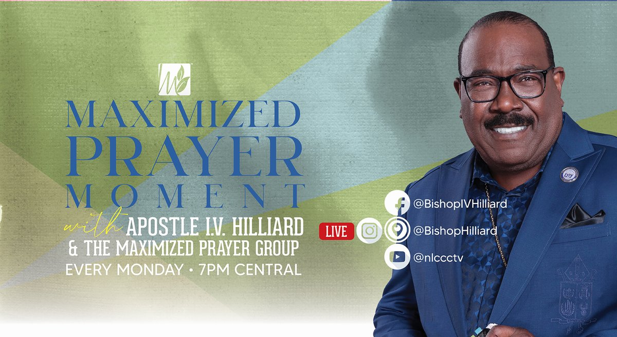 Join Apostle Hilliard on Mondays at his new time at 7PM CST for the Maximized Prayer Moment.