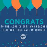 Image for the Tweet beginning: 1,050 clients reached their #DebtFreeDate