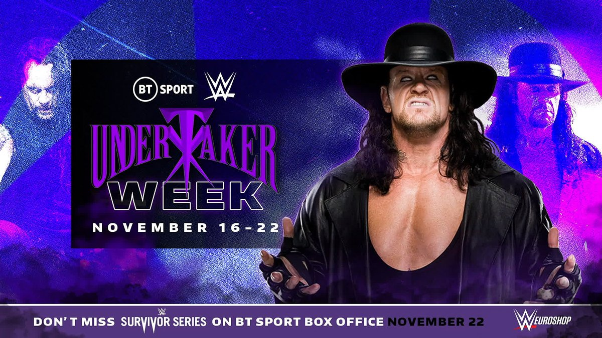 Man. Myth. Legend. Phenom.  We're dedicating a whole week to @undertaker on BT Sport as we build to his 30th anniversary and final farewell to WWE.  It's going to be emotional, it's going to be special 💜  #UndertakerWeek | November 16-22 | #Undertaker30