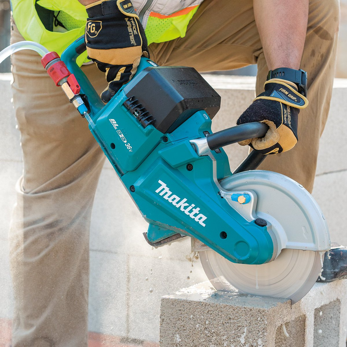 """The 18V X2 (36V) LXT Brushless 9"""" Power Cutter Kit has a maximum cutting depth of 3-1/2"""" allowing for single-pass cuts through various materials including common paver/blocks, pipe,  rebar (3/4"""" -#6), metal stud, 3"""" conduit, and more.   #makitausa #xec01"""