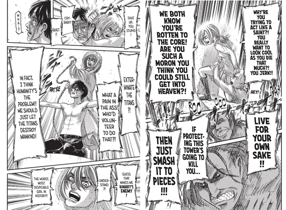 Historia saving Ymir and Eren. She stood up and gave them the courage not to give up, to stop act like martyrs and live for themself