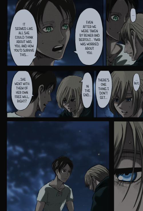 Eren was the first person Hisu trusted to find Ymir when she left and Eren tried to comfort Hisu