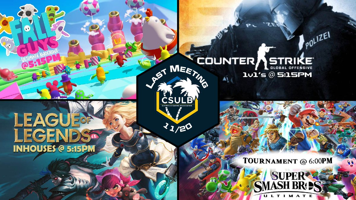 CSULB - Presenting our complete lineup for the final meeting! Smash ultimate was the last game [insert shocked face]  How about some prizes? 🥳  Fall guys: $20 Visa gift card LoL: $25 RP CSGO: $15 Steam card Smash: $20 Eshop card  Sign up links for each game will go live tomorrow!