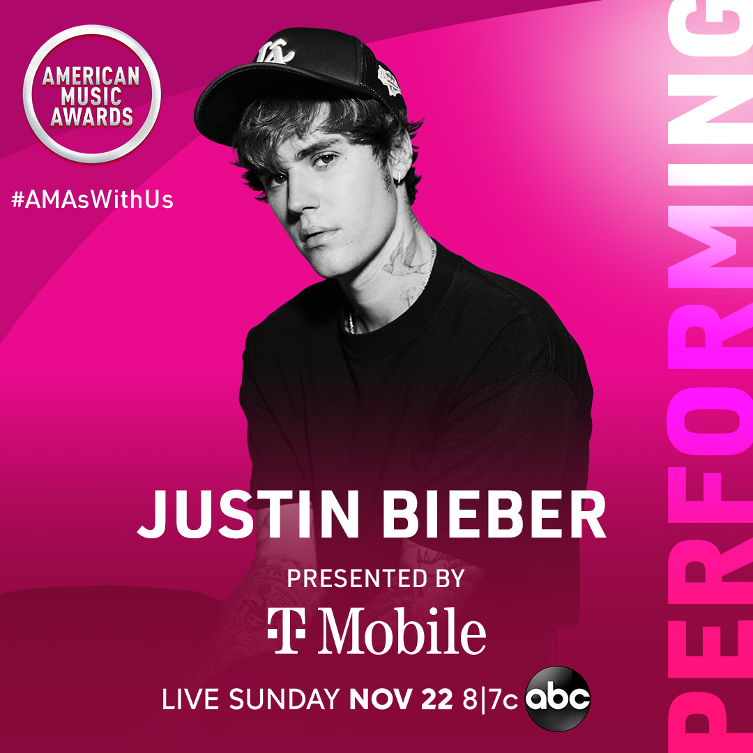 The #AMAs were feeling a little lonely... so we invited @justinbieber to perform presented by @TMobile! You have to be there, LIVE this Sunday at 8/7c on ABC. #AMAsWithUs https://t.co/o6U7ySLodd